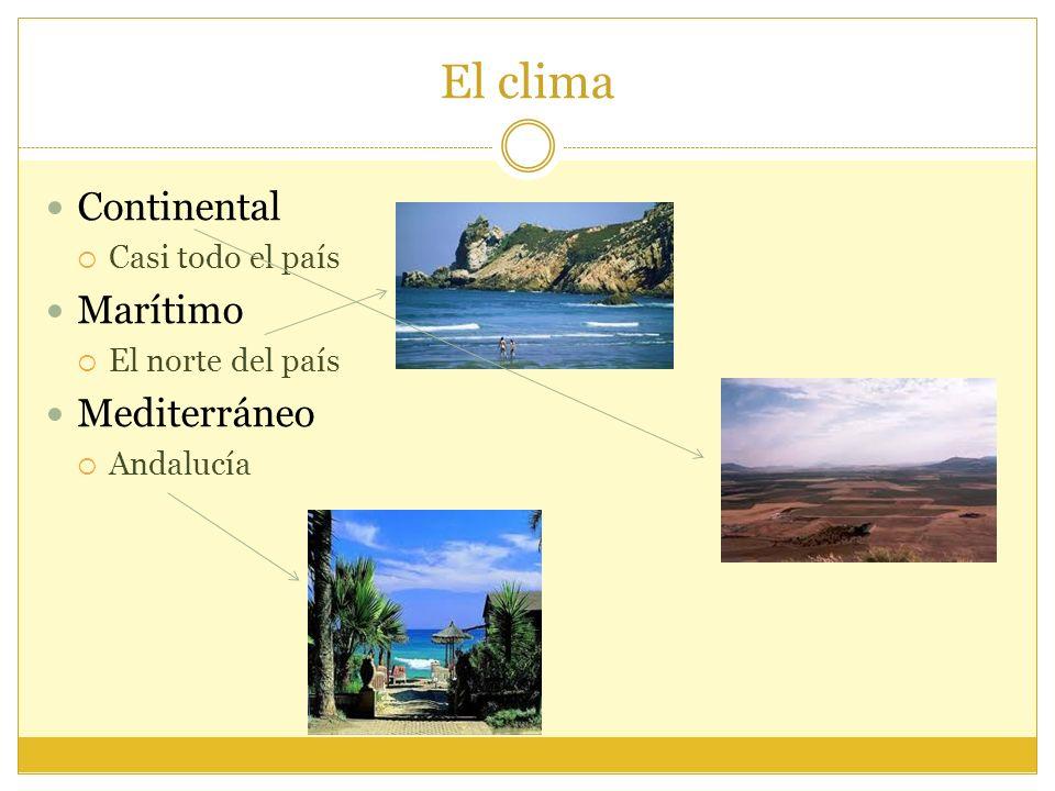 El clima Continental Casi todo el país Marítimo El norte del país Mediterráneo Andalucía