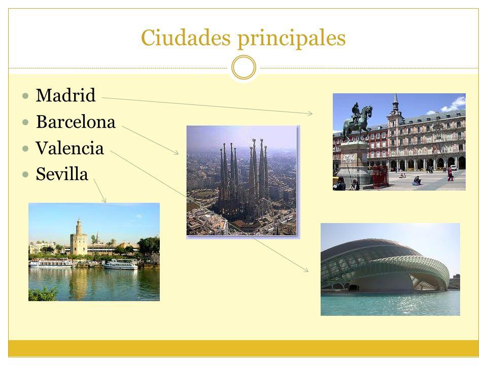 Ciudades principales Madrid Barcelona Valencia Sevilla