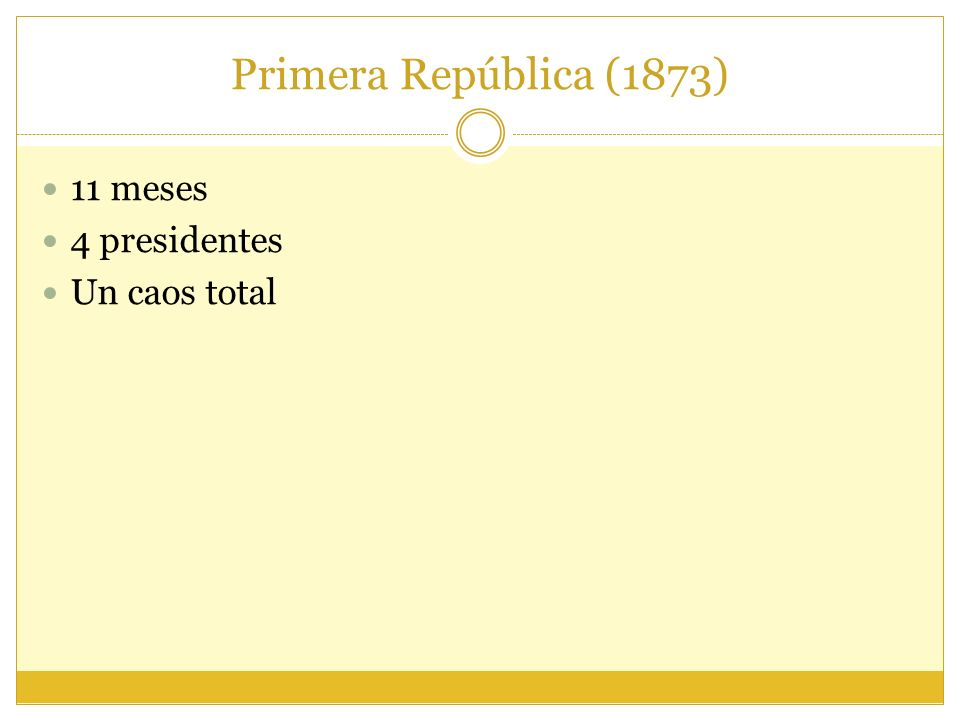 Primera República (1873) 11 meses 4 presidentes Un caos total