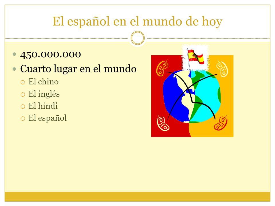 El español en el mundo de hoy 450.000.000 Cuarto lugar en el mundo El chino El inglés El hindi El español