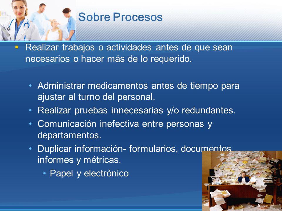 Sobre Procesos Realizar trabajos o actividades antes de que sean necesarios o hacer más de lo requerido. Administrar medicamentos antes de tiempo para