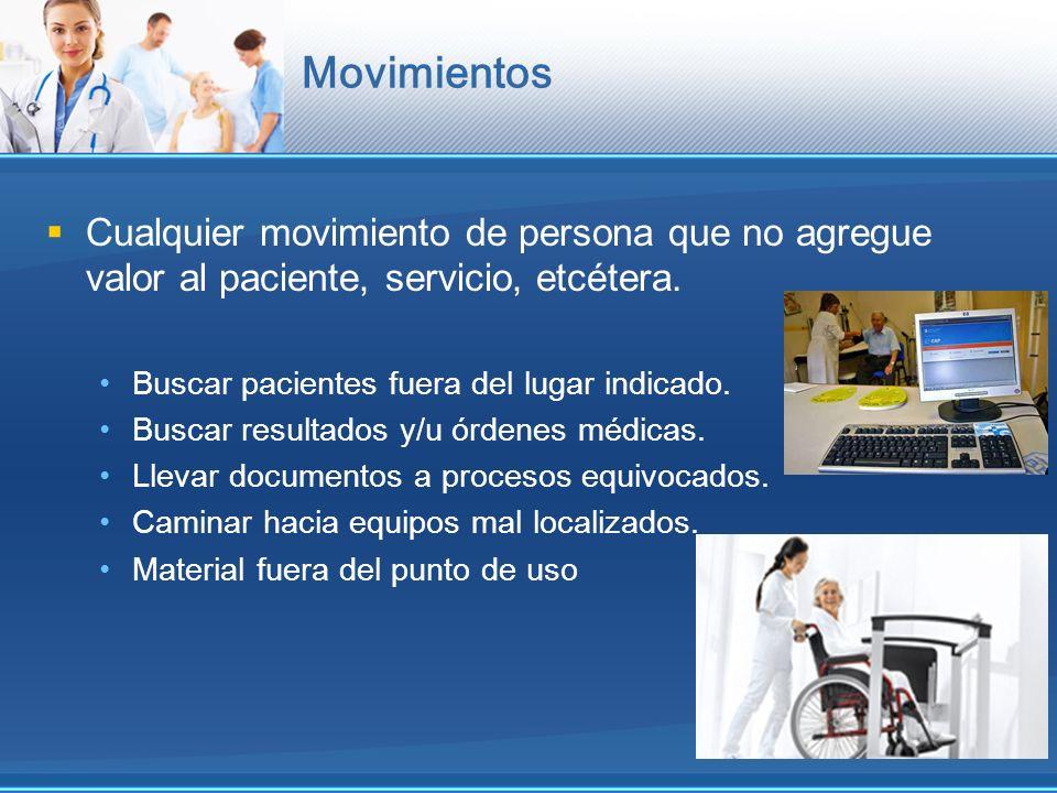 Movimientos Cualquier movimiento de persona que no agregue valor al paciente, servicio, etcétera. Buscar pacientes fuera del lugar indicado. Buscar re