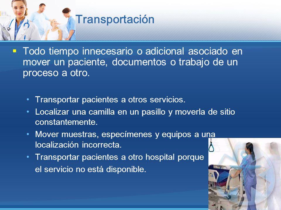 Transportación Todo tiempo innecesario o adicional asociado en mover un paciente, documentos o trabajo de un proceso a otro. Transportar pacientes a o