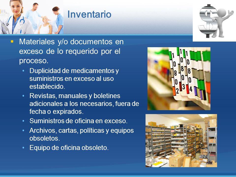 Inventario Materiales y/o documentos en exceso de lo requerido por el proceso. Duplicidad de medicamentos y suministros en exceso al uso establecido.