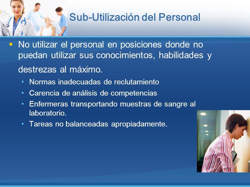 Sub-Utilización del Personal No utilizar el personal en posiciones donde no puedan utilizar sus conocimientos, habilidades y destrezas al máximo. Norm
