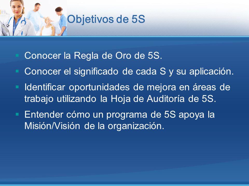 Objetivos de 5S Conocer la Regla de Oro de 5S. Conocer el significado de cada S y su aplicación. Identificar oportunidades de mejora en áreas de traba