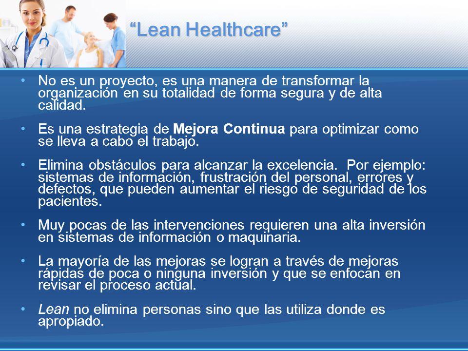 Lean Healthcare No es un proyecto, es una manera de transformar la organización en su totalidad de forma segura y de alta calidad. Es una estrategia d