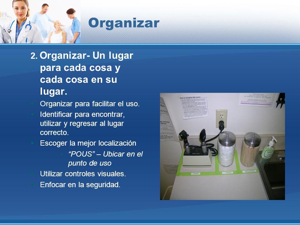 Organizar 2. Organizar- Un lugar para cada cosa y cada cosa en su lugar. Organizar para facilitar el uso. Identificar para encontrar, utilizar y regre