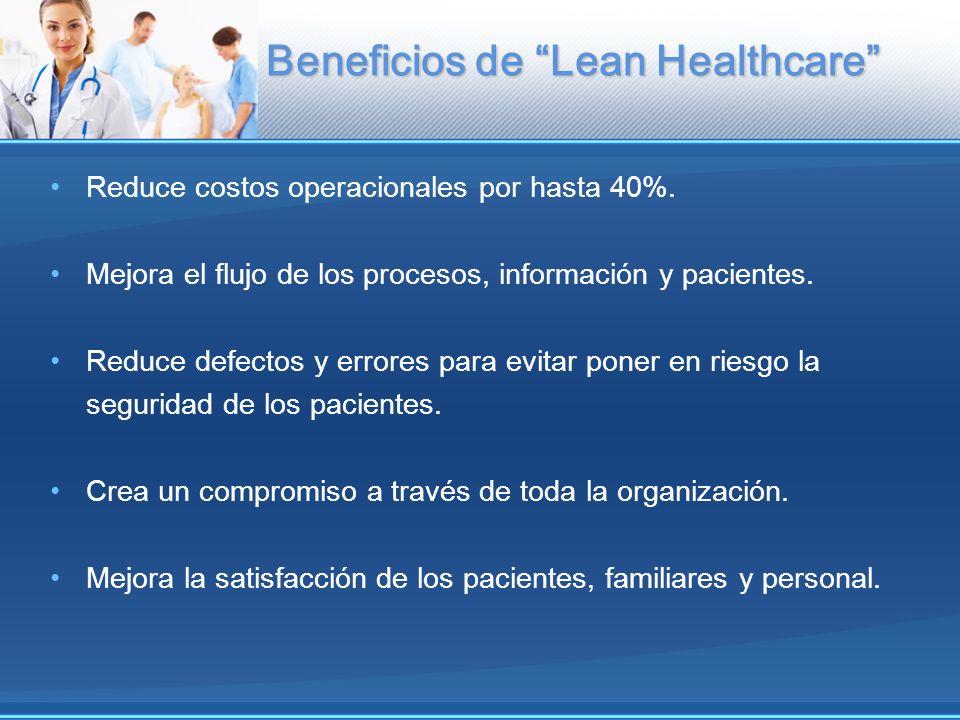 Beneficios de Lean Healthcare Reduce costos operacionales por hasta 40%. Mejora el flujo de los procesos, información y pacientes. Reduce defectos y e