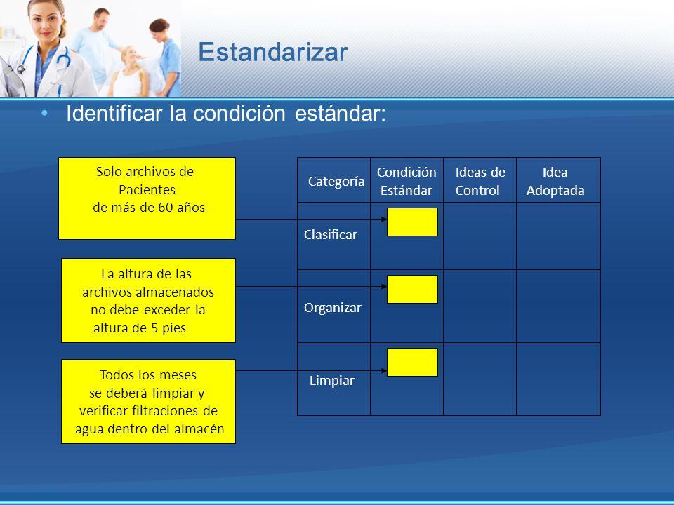 Estandarizar Identificar la condición estándar: Categoría Condición Estándar Ideas de Control Idea Adoptada Clasificar Organizar Limpiar Solo archivos
