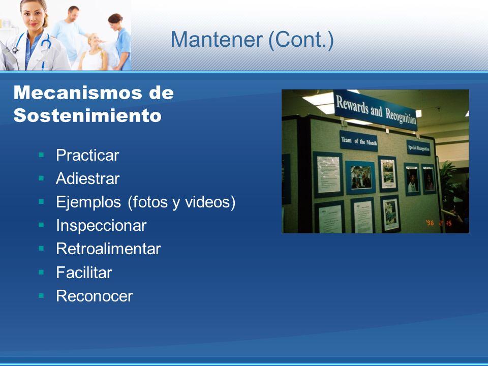 Mecanismos de Sostenimiento Practicar Adiestrar Ejemplos (fotos y videos) Inspeccionar Retroalimentar Facilitar Reconocer Mantener (Cont.)