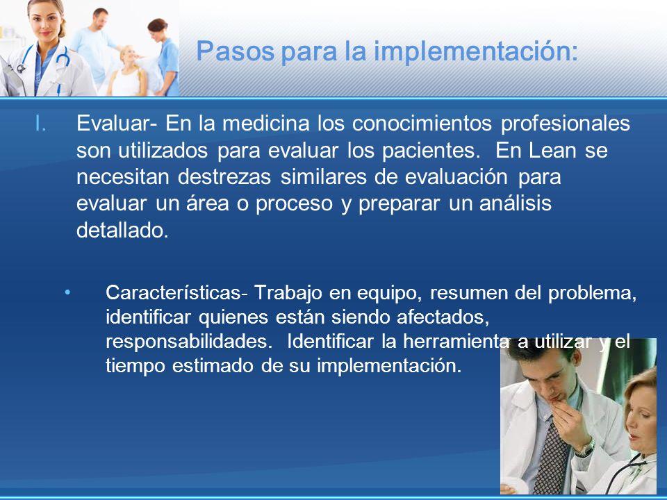 Pasos para la implementación: I.Evaluar- En la medicina los conocimientos profesionales son utilizados para evaluar los pacientes. En Lean se necesita