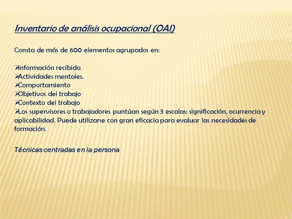 Inventario de análisis ocupacional (OAI) Consta de más de 600 elementos agrupados en: Información recibida Actividades mentales. Comportamiento Objeti
