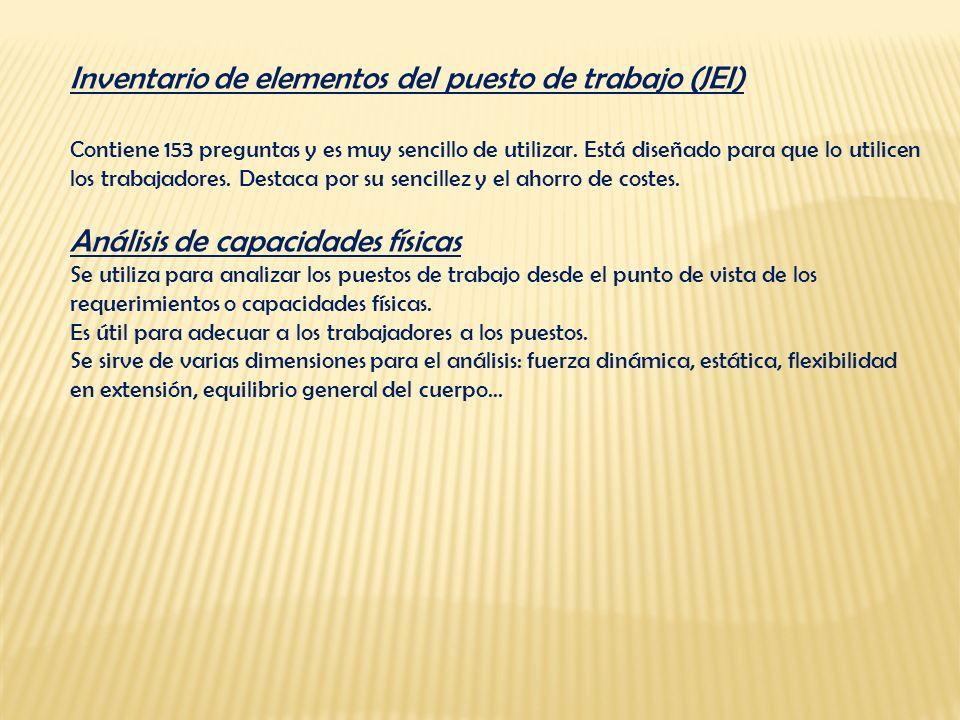 Inventario de elementos del puesto de trabajo (JEI) Contiene 153 preguntas y es muy sencillo de utilizar. Está diseñado para que lo utilicen los traba