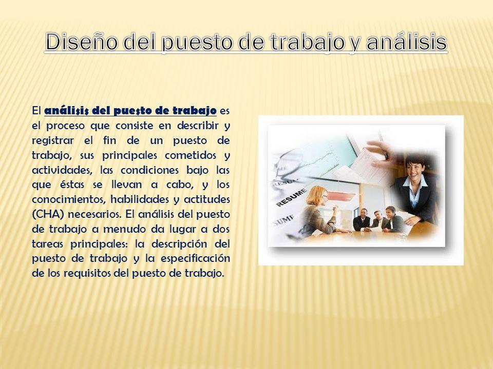 El análisis del puesto de trabajo es el proceso que consiste en describir y registrar el fin de un puesto de trabajo, sus principales cometidos y acti