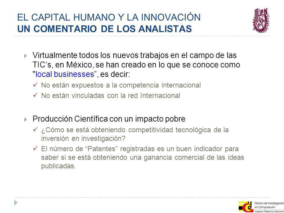 EL CAPITAL HUMANO Y LA INNOVACIÓN UN COMENTARIO DE LOS ANALISTAS Virtualmente todos los nuevos trabajos en el campo de las TICs, en México, se han cre