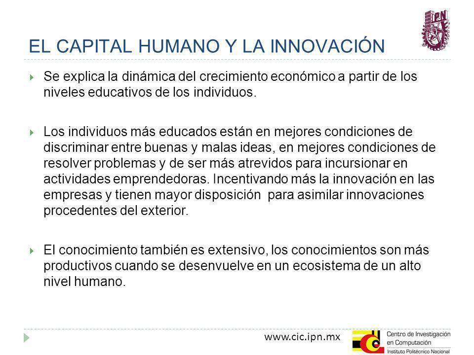 www.cic.ipn.mx EL CAPITAL HUMANO Y LA INNOVACIÓN Se explica la dinámica del crecimiento económico a partir de los niveles educativos de los individuos