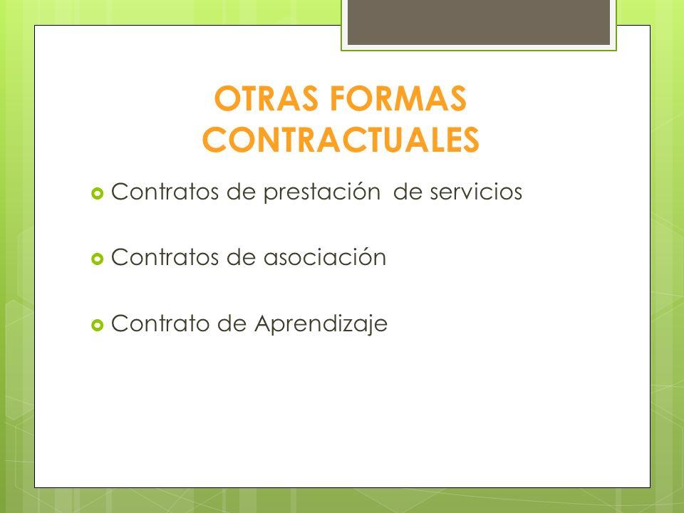 OTRAS FORMAS CONTRACTUALES Contratos de prestación de servicios Contratos de asociación Contrato de Aprendizaje