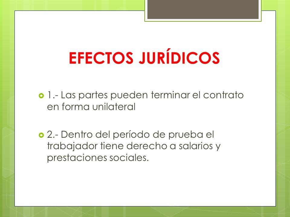 EFECTOS JURÍDICOS 1.- Las partes pueden terminar el contrato en forma unilateral 2.- Dentro del período de prueba el trabajador tiene derecho a salari