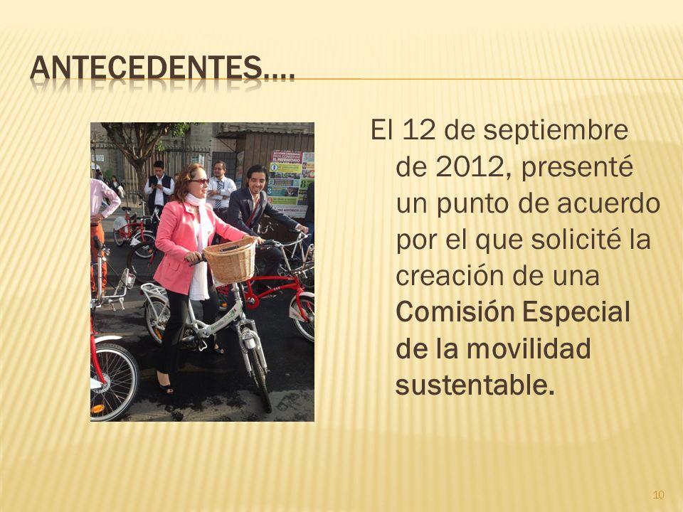 El 12 de septiembre de 2012, presenté un punto de acuerdo por el que solicité la creación de una Comisión Especial de la movilidad sustentable. 10