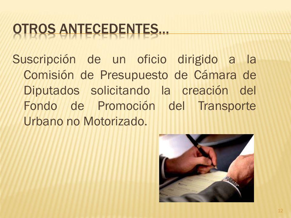 Suscripción de un oficio dirigido a la Comisión de Presupuesto de Cámara de Diputados solicitando la creación del Fondo de Promoción del Transporte Ur