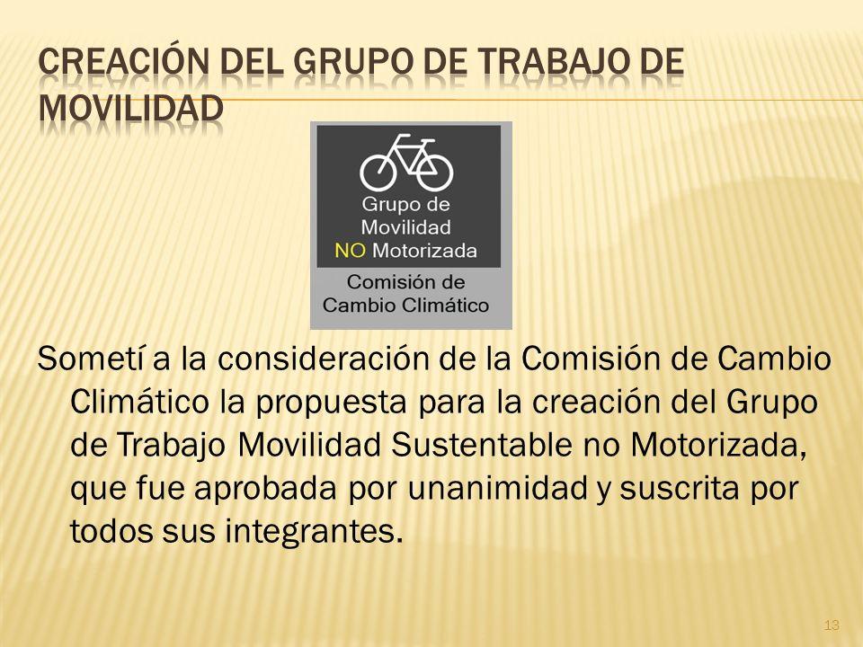 Sometí a la consideración de la Comisión de Cambio Climático la propuesta para la creación del Grupo de Trabajo Movilidad Sustentable no Motorizada, q