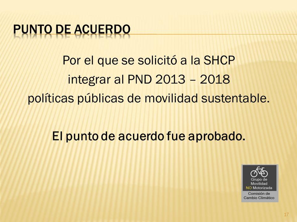 Por el que se solicitó a la SHCP integrar al PND 2013 – 2018 políticas públicas de movilidad sustentable. El punto de acuerdo fue aprobado. 17