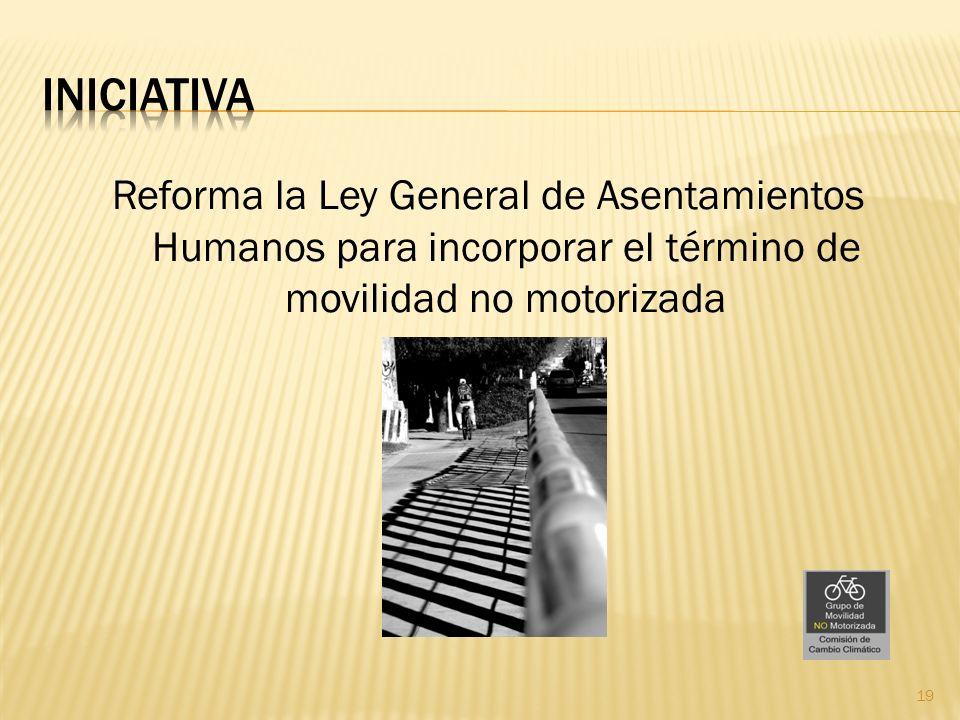 Reforma la Ley General de Asentamientos Humanos para incorporar el término de movilidad no motorizada 19