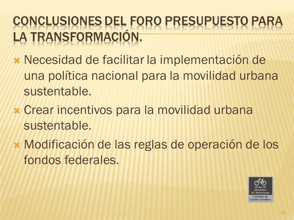 Necesidad de facilitar la implementación de una política nacional para la movilidad urbana sustentable. Crear incentivos para la movilidad urbana sust