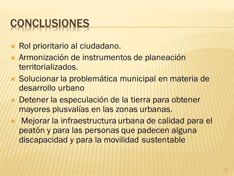 Rol prioritario al ciudadano. Armonización de instrumentos de planeación territorializados. Solucionar la problemática municipal en materia de desarro