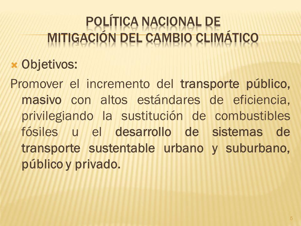 Objetivos: Promover el incremento del transporte público, masivo con altos estándares de eficiencia, privilegiando la sustitución de combustibles fósi
