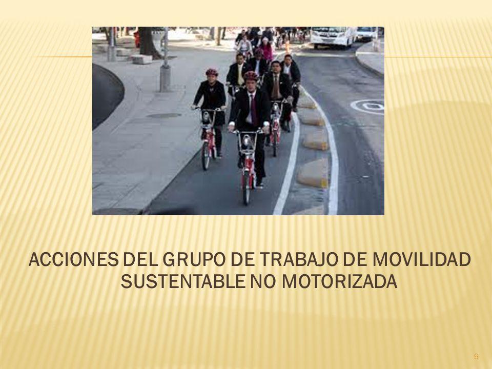 ACCIONES DEL GRUPO DE TRABAJO DE MOVILIDAD SUSTENTABLE NO MOTORIZADA 9