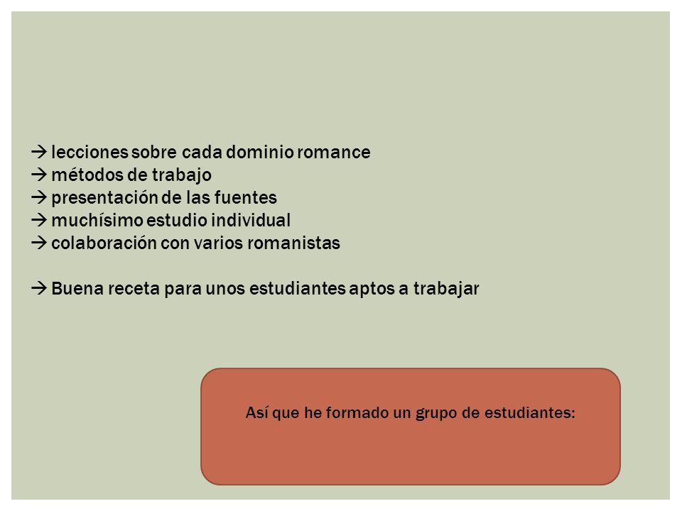 lecciones sobre cada dominio romance métodos de trabajo presentación de las fuentes muchísimo estudio individual colaboración con varios romanistas Bu