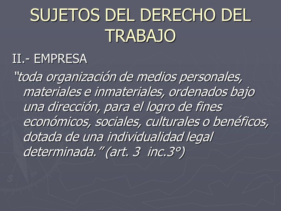SUJETOS DEL DERECHO DEL TRABAJO II.- EMPRESA toda organización de medios personales, materiales e inmateriales, ordenados bajo una dirección, para el