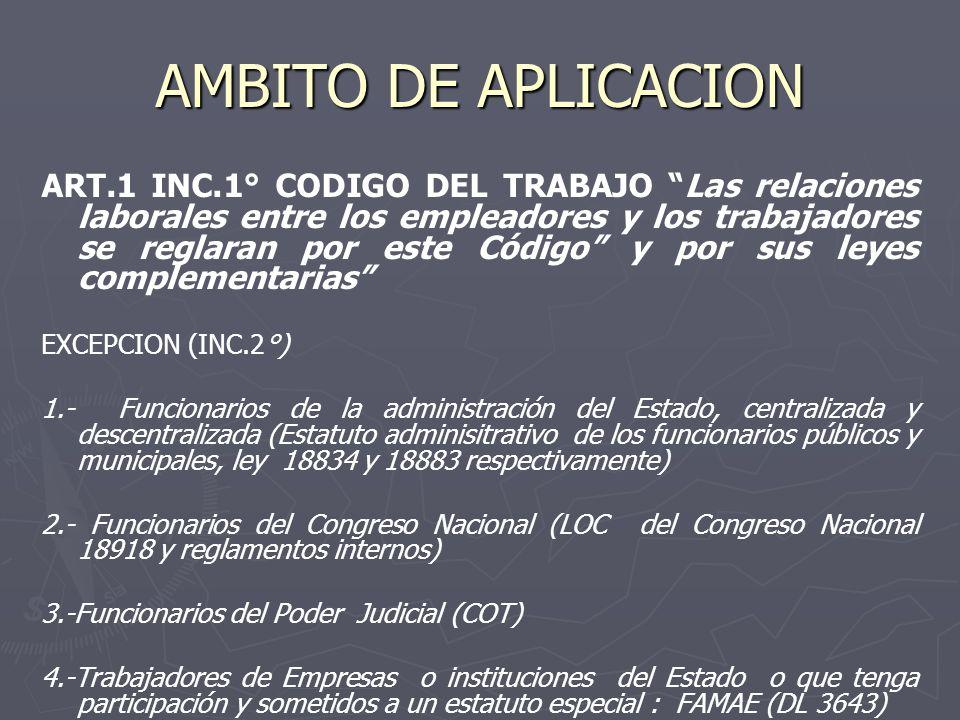 AMBITO DE APLICACION ART.1 INC.1° CODIGO DEL TRABAJO Las relaciones laborales entre los empleadores y los trabajadores se reglaran por este Código y p
