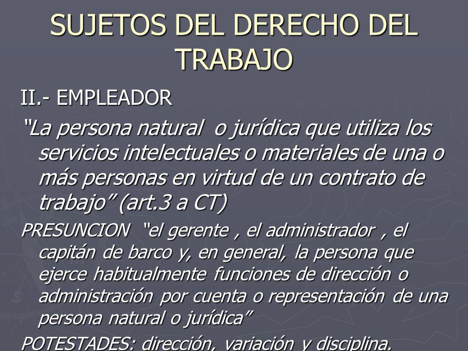 SUJETOS DEL DERECHO DEL TRABAJO II.- EMPLEADOR La persona natural o jurídica que utiliza los servicios intelectuales o materiales de una o más persona