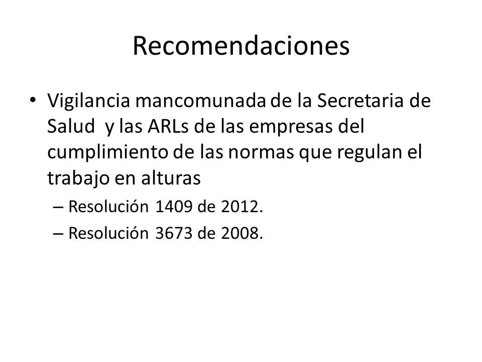 Recomendaciones Vigilancia mancomunada de la Secretaria de Salud y las ARLs de las empresas del cumplimiento de las normas que regulan el trabajo en a