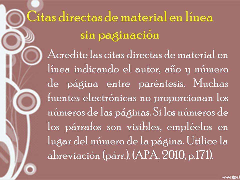 Citas directas de material en línea sin paginación Acredite las citas directas de material en línea indicando el autor, año y número de página entre paréntesis.