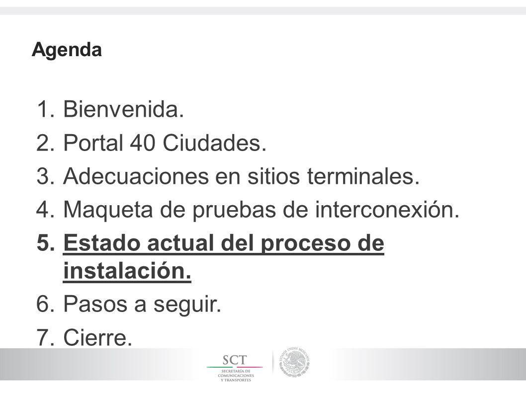 Agenda 1.Bienvenida. 2.Portal 40 Ciudades. 3.Adecuaciones en sitios terminales.