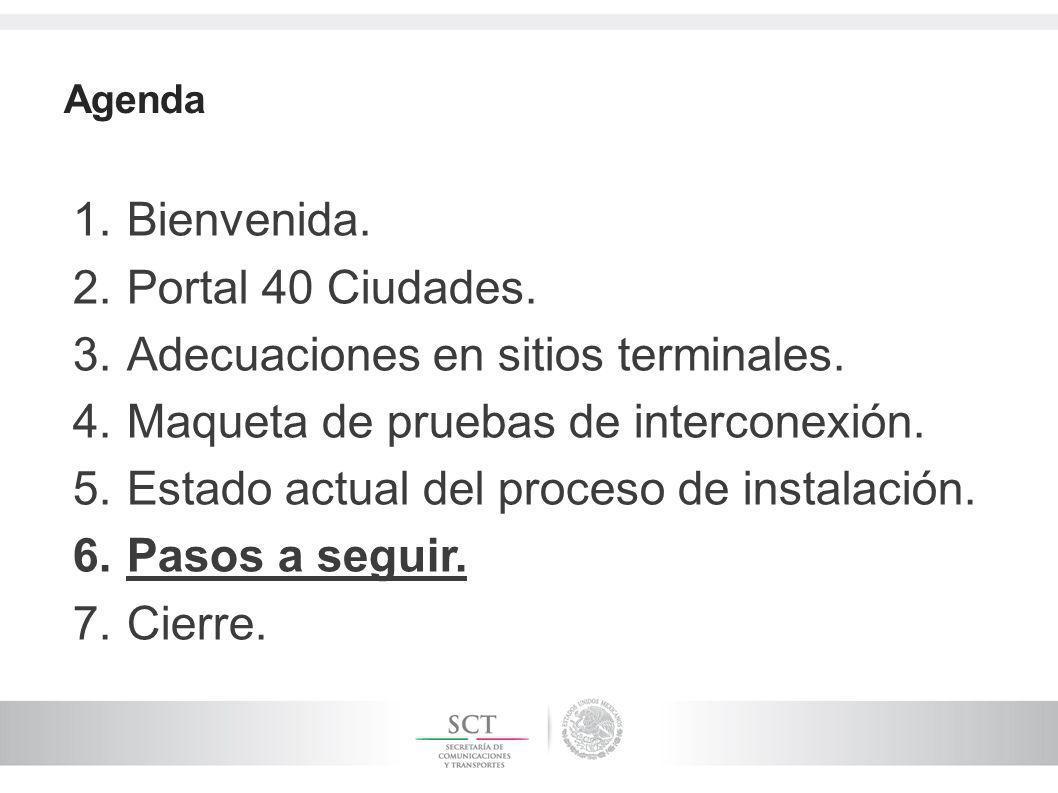Agenda 1.Bienvenida. 2.Portal 40 Ciudades. 3.Adecuaciones en sitios terminales. 4.Maqueta de pruebas de interconexión. 5.Estado actual del proceso de