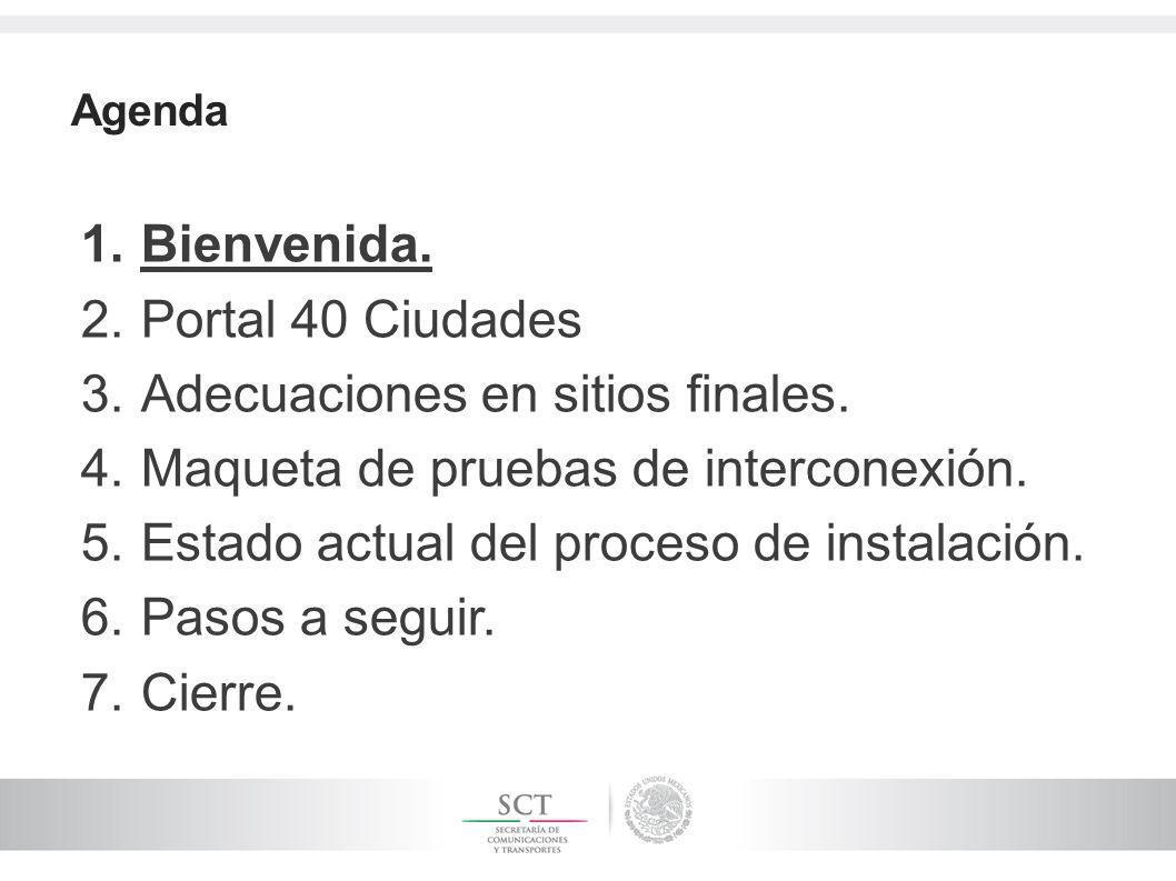 Agenda 1.Bienvenida. 2.Portal 40 Ciudades 3.Adecuaciones en sitios finales. 4.Maqueta de pruebas de interconexión. 5.Estado actual del proceso de inst