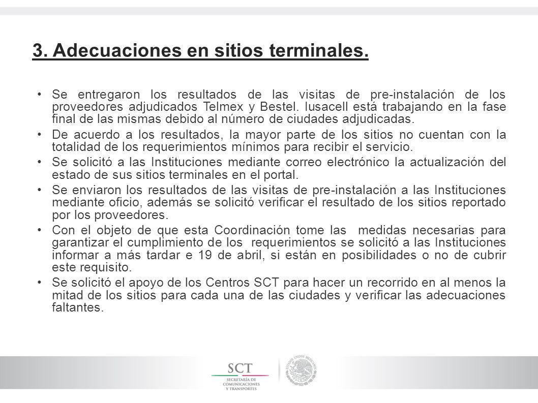 3. Adecuaciones en sitios terminales. Se entregaron los resultados de las visitas de pre-instalación de los proveedores adjudicados Telmex y Bestel. I