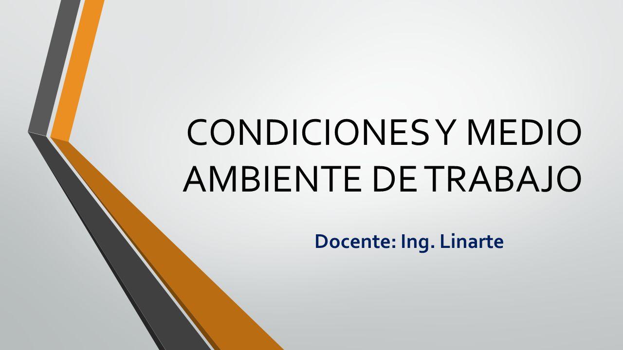 CONDICIONES Y MEDIO AMBIENTE DE TRABAJO Docente: Ing. Linarte
