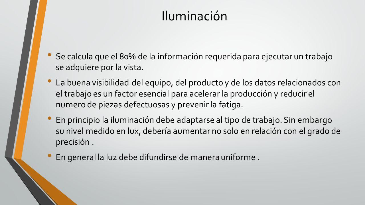 Iluminación Se calcula que el 80% de la información requerida para ejecutar un trabajo se adquiere por la vista. La buena visibilidad del equipo, del