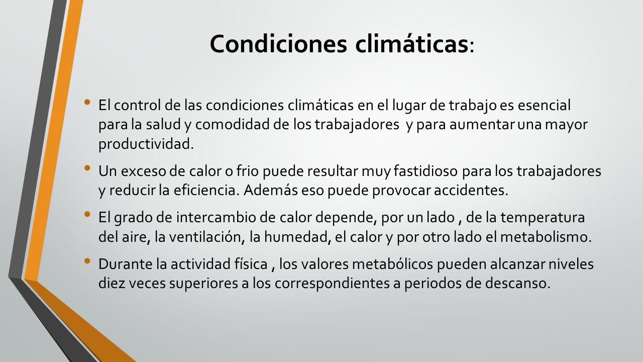 Condiciones climáticas: El control de las condiciones climáticas en el lugar de trabajo es esencial para la salud y comodidad de los trabajadores y pa
