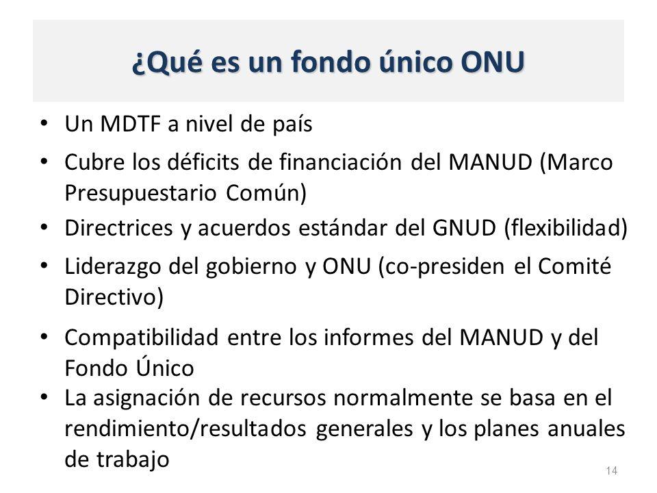 ¿Qué es un fondo único ONU Un MDTF a nivel de país 14 Cubre los déficits de financiación del MANUD (Marco Presupuestario Común) Directrices y acuerdos estándar del GNUD (flexibilidad) Liderazgo del gobierno y ONU (co-presiden el Comité Directivo) Compatibilidad entre los informes del MANUD y del Fondo Único La asignación de recursos normalmente se basa en el rendimiento/resultados generales y los planes anuales de trabajo