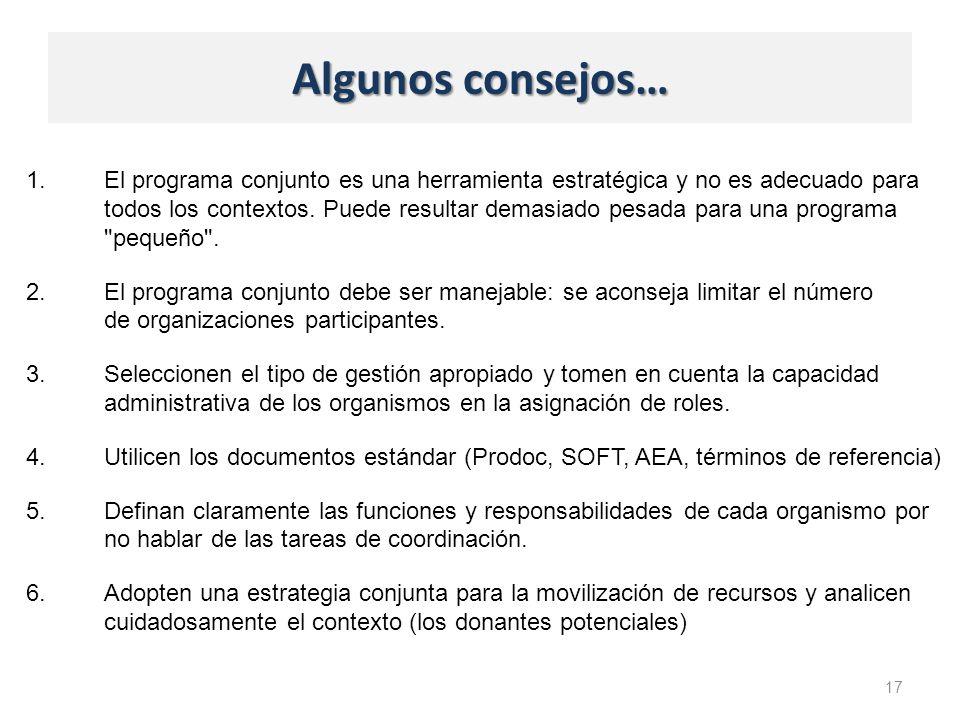 Algunos consejos… 1.El programa conjunto es una herramienta estratégica y no es adecuado para todos los contextos.