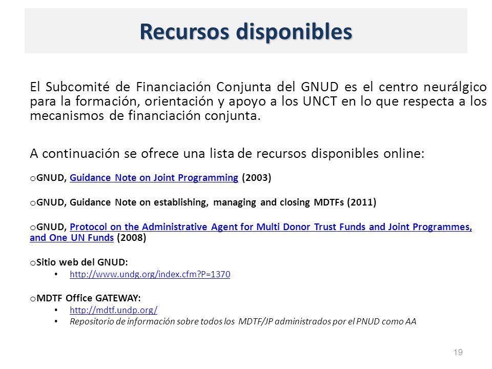 Recursos disponibles El Subcomité de Financiación Conjunta del GNUD es el centro neurálgico para la formación, orientación y apoyo a los UNCT en lo que respecta a los mecanismos de financiación conjunta.