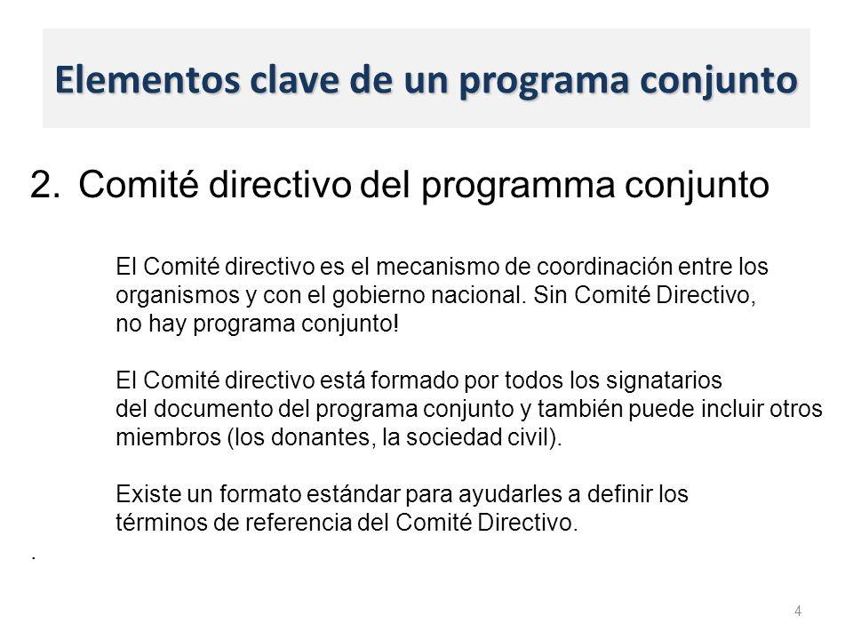 Elementos clave de un programa conjunto 4 2.Comité directivo del programma conjunto El Comité directivo es el mecanismo de coordinación entre los organismos y con el gobierno nacional.