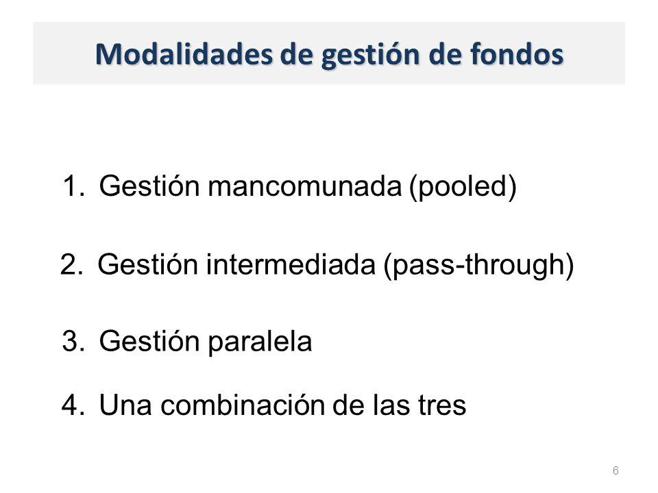 Modalidades de gestión de fondos 1.Gestión mancomunada (pooled) 6 2.Gestión intermediada (pass-through) 3.Gestión paralela 4.Una combinación de las tres
